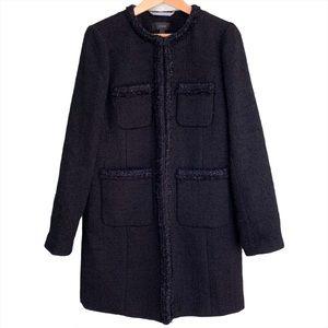 J.Crew Lurex Tweed Wool Blend Lady Coat Black Sz 8